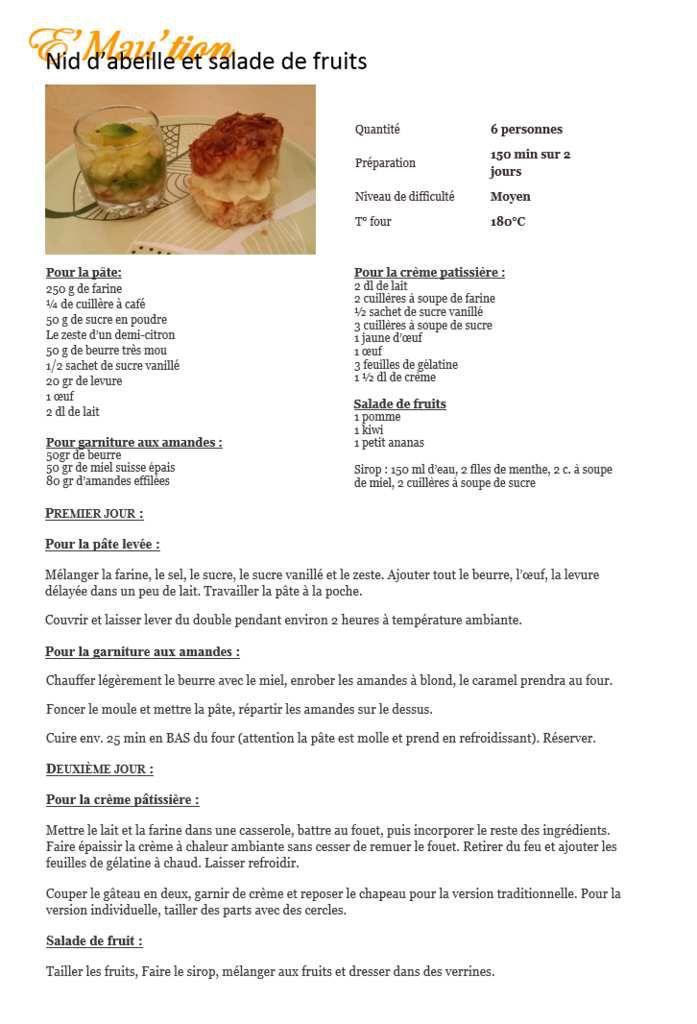 Recette: nid d'abeille et salade de fruits