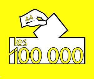 Logo Les 100.000. Pétition en Loire-Atlantique par Bretagne Réunie pour la Réunification de la Bretagne (droit d'option).