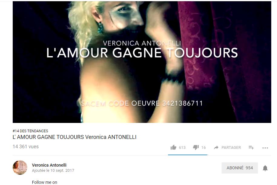 """Veronica ANTONELLI """"L'amour gagne toujours"""" passe de la place #23 à la place #14 des tendances clip en France"""