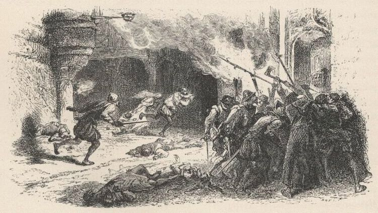 Massacre de protestants, gravure issue de l'ouvrage Histoire de France, par François GUIZOT, France, 1875.