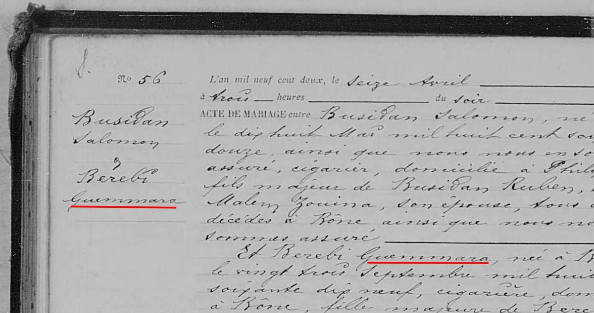 Extrait de l'acte de mariage de Guemmara BEREBI et Salomon BUSSIDAN le 16 avril 1902 à Bône - Source : ANOM