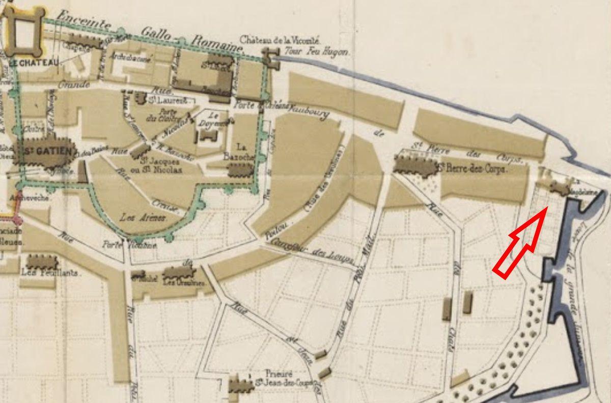 Emplacement de l'Hospice de la Madeleine à Tours en 1872 - source : https://www.flickr.com/photos/britishlibrary/11098786424/