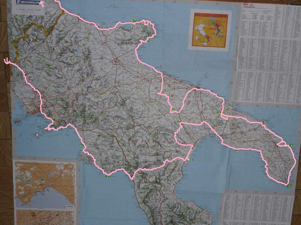 Notre parcours au sud de l'Italie