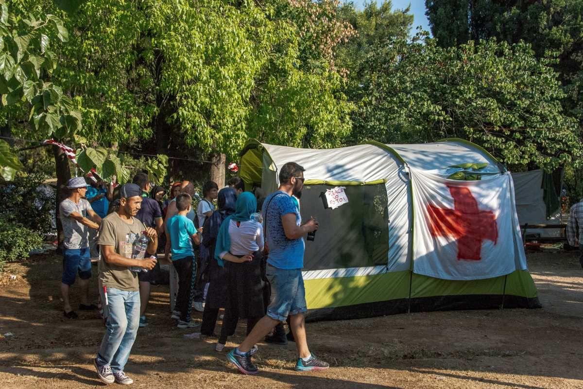 Le parc Areos, en plein centre d'Athènes, où des migrants, surtout d'Afghanistan ont établi leur camp de fortune