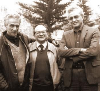 Boualem Khalfa; à droite, avec Kateb Yacine et Henri Alleg