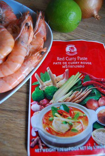 Crevettes Curry Rouge et Curry Vert au lait de Coco