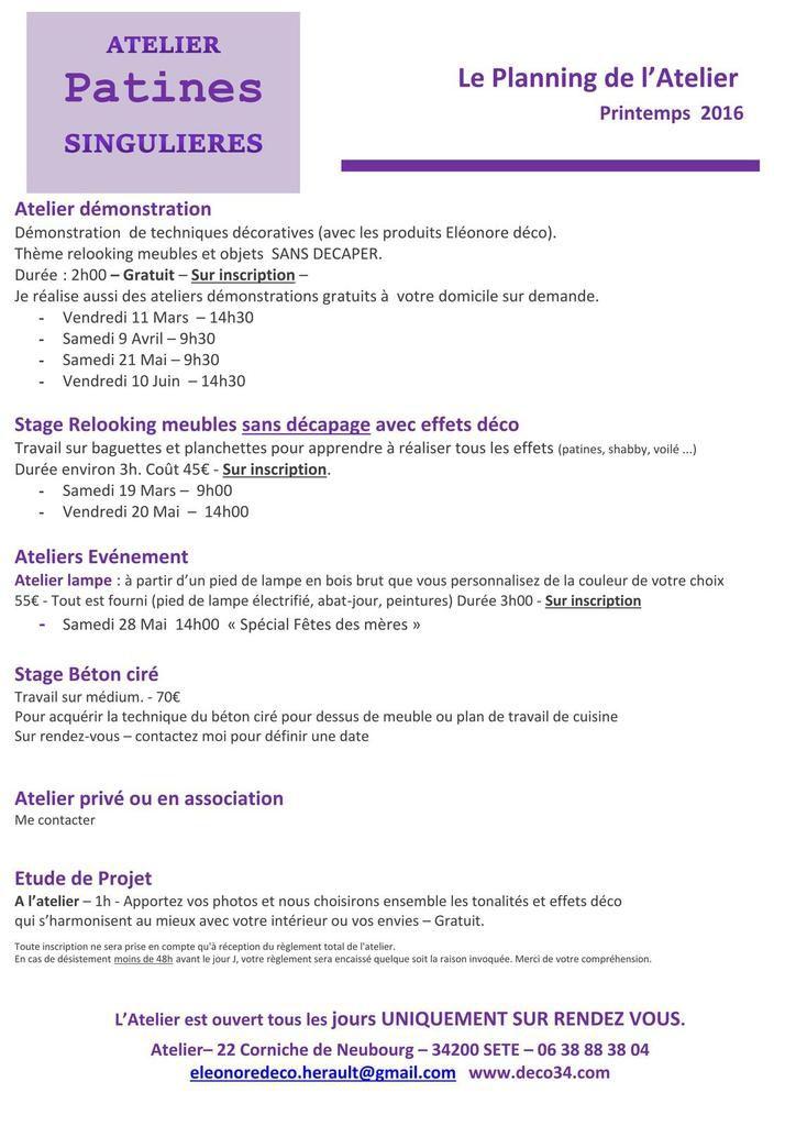 Planning ateliers et stages Printemps 2016
