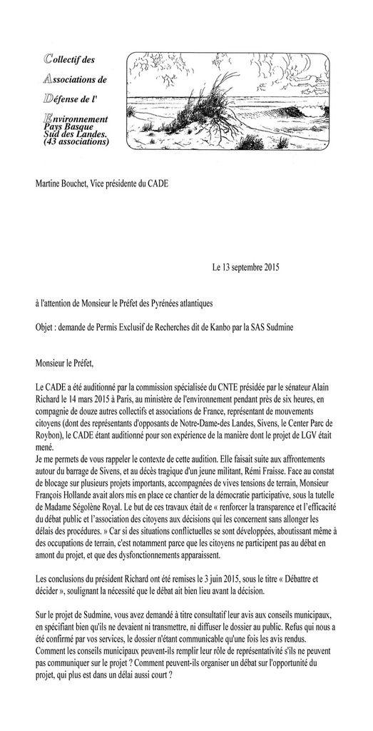 Lettre  au préfet au sujet de la demande de permis exclusif de recherches dit de Kanbo par la SAS Sudmine