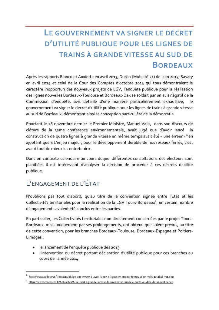 Le gouvernement va signer le DUP pour les LGV au sud de Bordeaux
