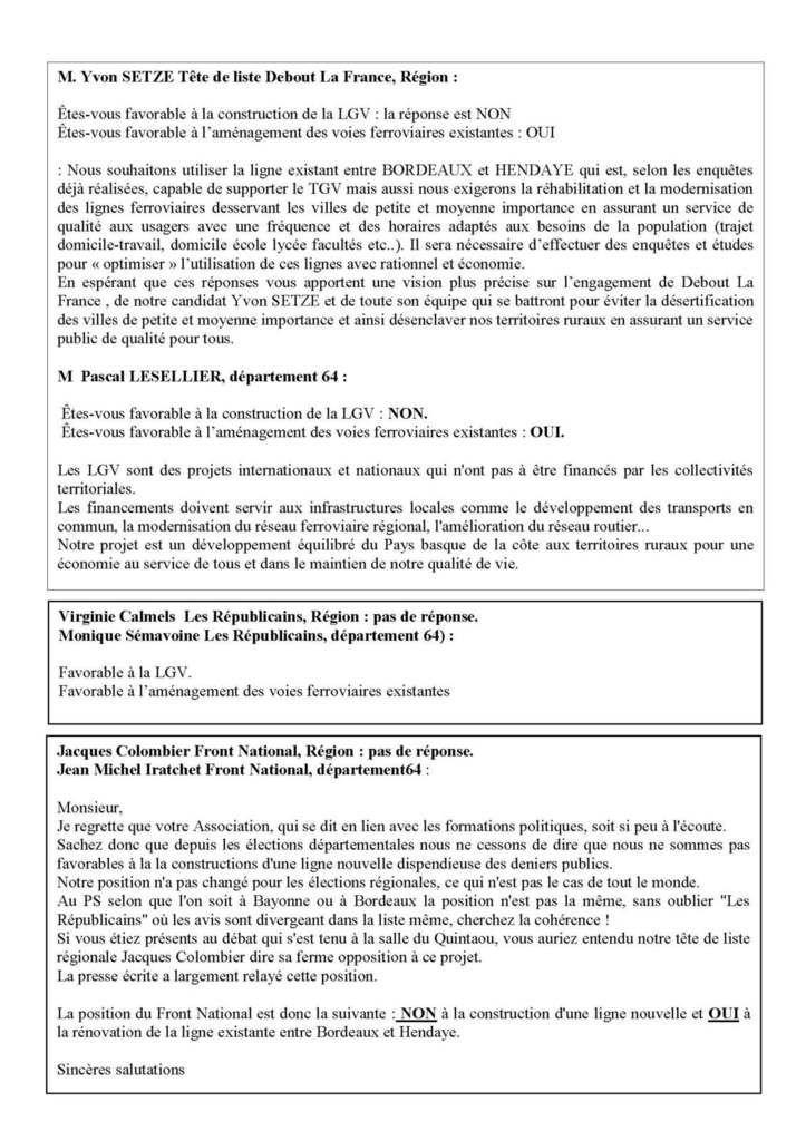 LGV/Elections régionales 2015 : Réponses des candidats/e