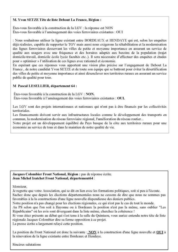Régionales 2015: Derniers résultats sur le projet de LGV/GPSO