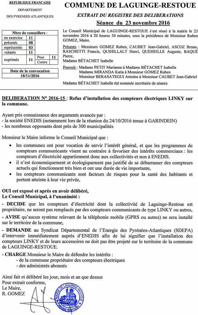 Laguinge-restoue, commune de Soule de 183 habitants, dit NON au Linky !!!!