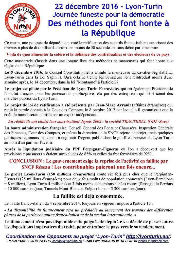 22 décembre 2016 - Lyon-Turin Journée funeste pour la démocratie Des méthodes qui font honte à la République