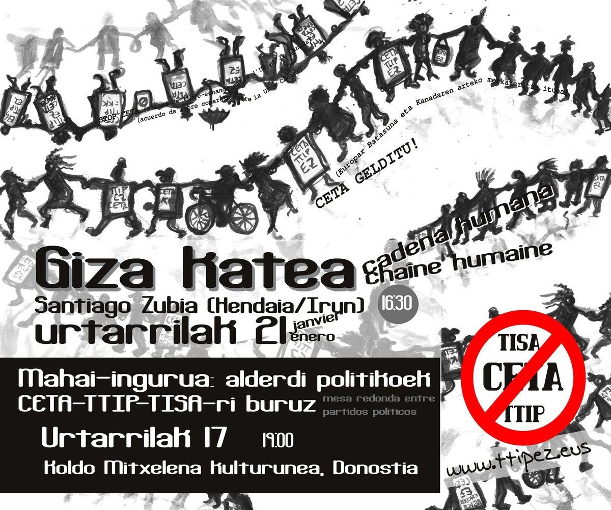 CETA, une journée européenne de protestation est organisée  au Pays Basque le 21/01/17, RD à 16h30 sur le pont Santiago à Hendaye