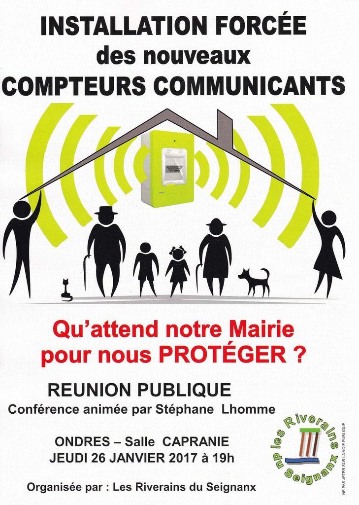 Conférence de S.Lhomme  sur les compteurs « communicants » le jeudi 26/01/17 à Ondres
