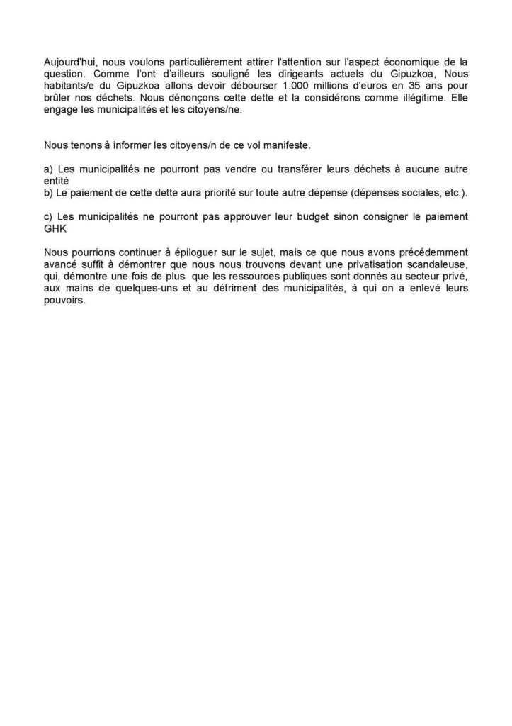 04/02/17 : Manifestation Hondarribia, NON à l'incinération,  ni à Txingudi, Ni à Zubieta