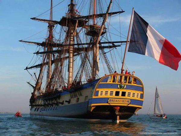 Lafayette et l'Hermione - 5 juin 2015 - Elle est arrivée à Yorktown USA
