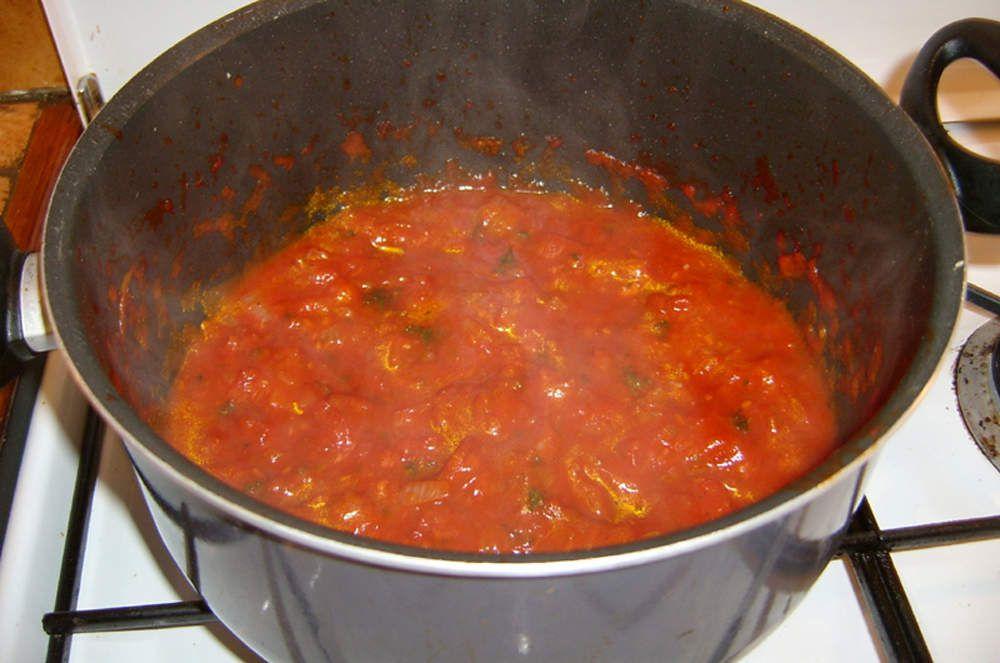 Concassée de tomates pour fond de pizza.