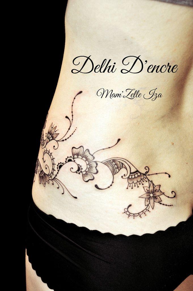 Tatouage Mehendi (style henné) aine &amp&#x3B; hanche.