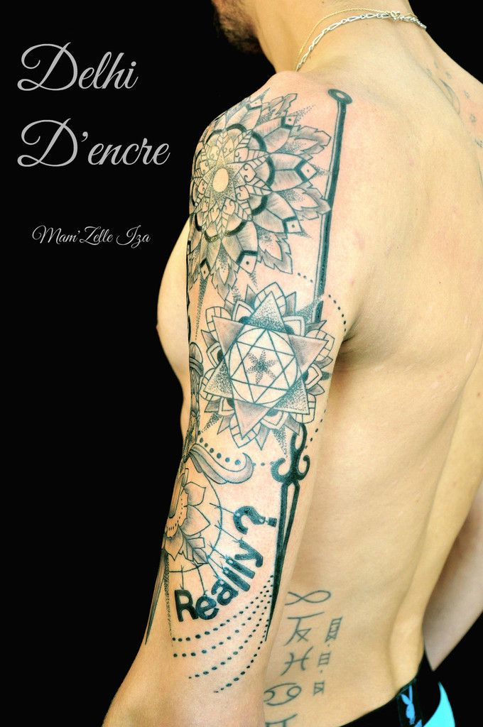 Tatouage mandalas &amp&#x3B; poignard  Dot Work.