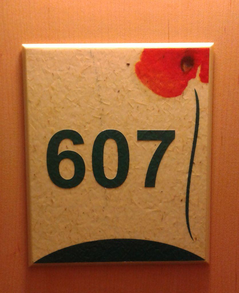 la moquette du couloir et le N° de la chambre : des coquelicots