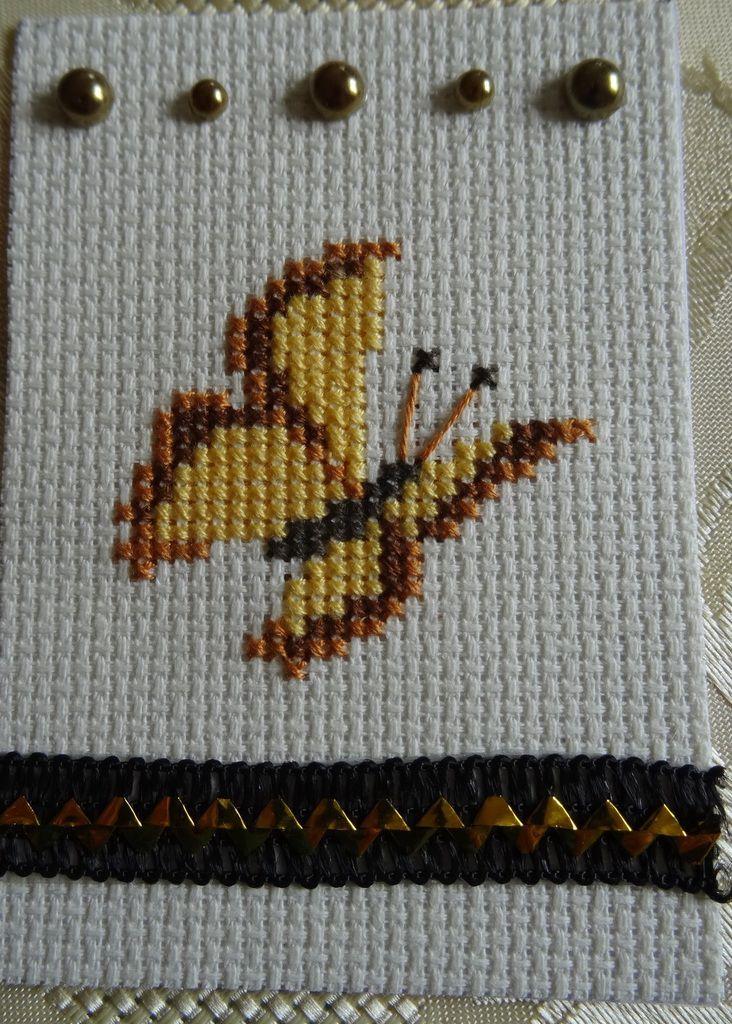 5ème échange 2016-ATC brodée thème Papillon-C'est Fini !!!