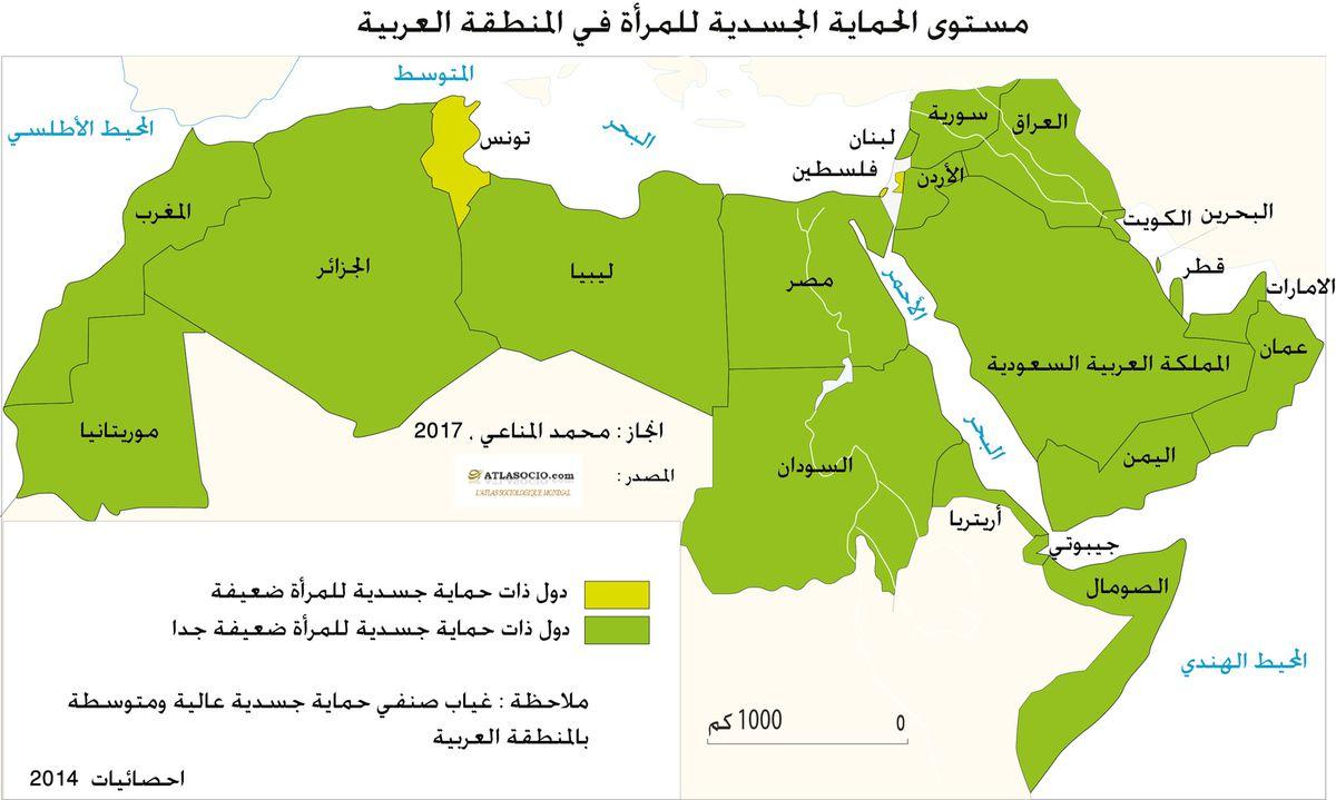 خريطة وضع الحماية الجسدية للمرأة في العالم العربي