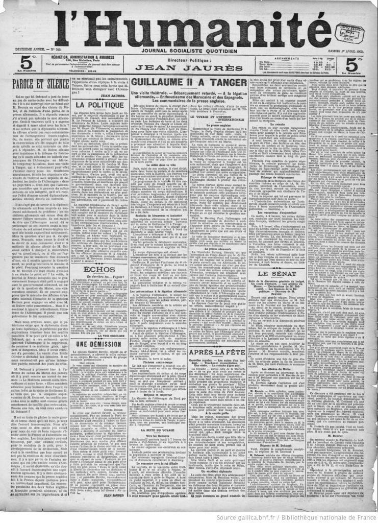 Constantes géopolitiques : Il y a 110 ans , Kiel et Tanger .