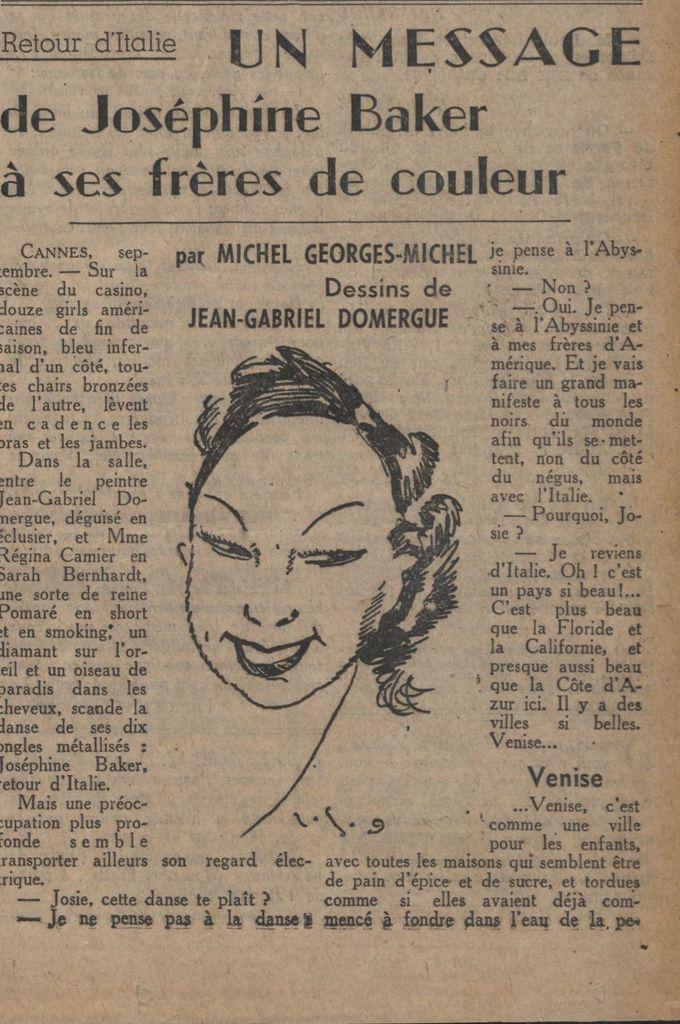 Il y a 80 ans Josephine Baker déclarait la &quot&#x3B; guerre raciale &quot&#x3B; au Négus et soutenait Benito Mussolini .