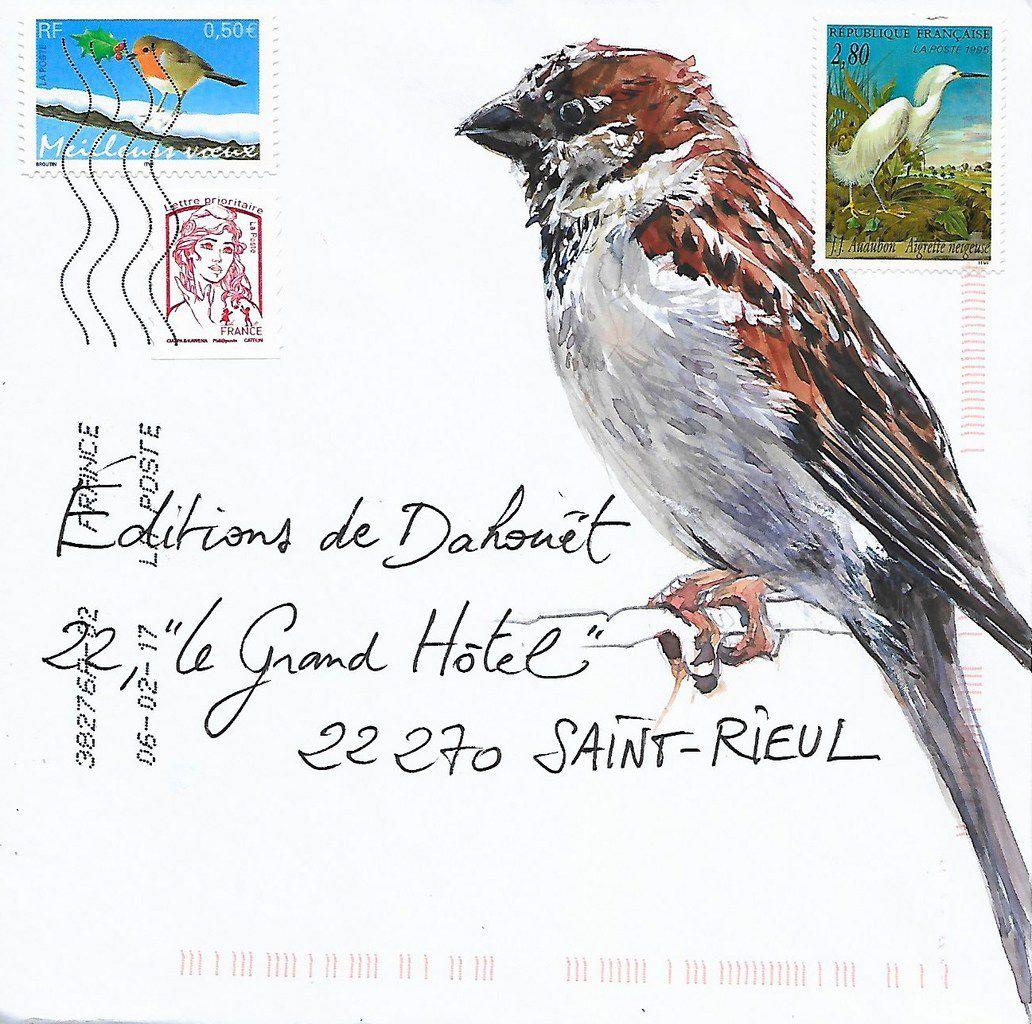 Courrier à Plumes / Éxpédié depuis l'île Molène , Paris , Melun .
