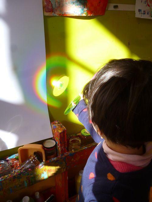 technique de la photocopieuse à l'école et séance sur l'arc en ciel