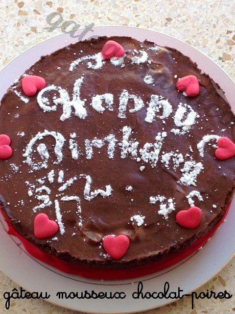 Gâteau mousseux chocolat-poires