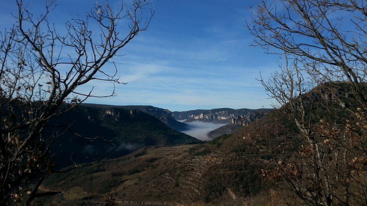 Brouillard se dissipant sur vallée de la Dourbie