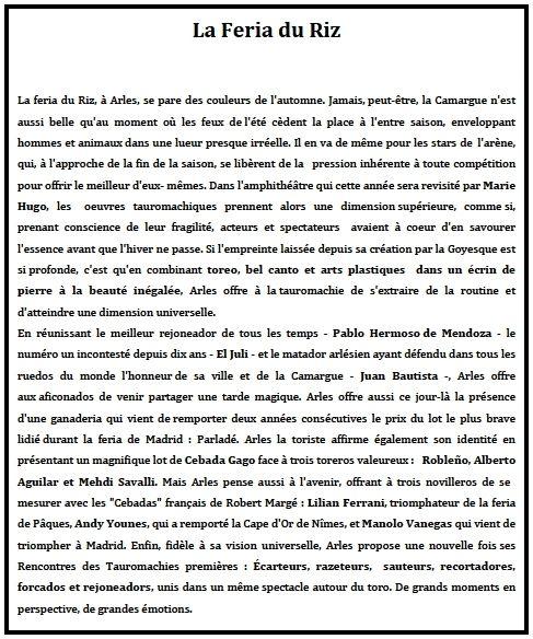 ... LE PROGRAMME COMPLET DE LA FERIA DU RIZ D'ARLES ... 11 AU 13 SEPTEMBRE ...