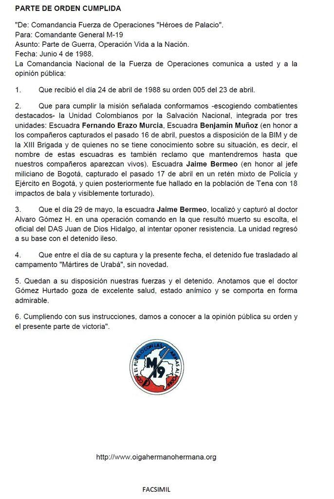 """Documentos en la historia del M-19: """"Rolando va en camino"""" (2)"""