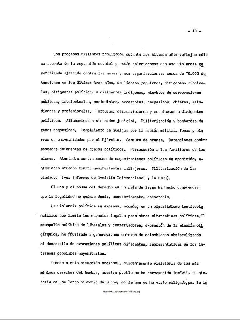 Documentos en la historia del M-19: Carta a la Asamblea General de las Naciones Unidas, septiembre de 1981