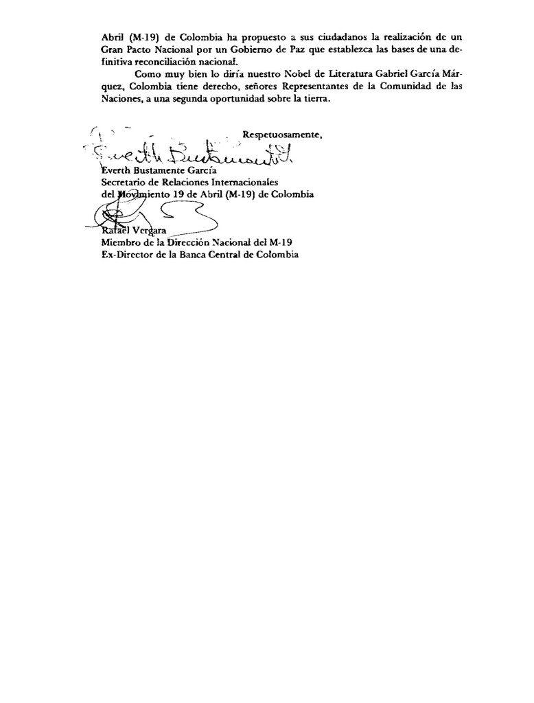 Documentos en la historia del M-19: Carta a la 42 Asamblea de las Naciones Unidas, Septiembre  28 de 1987