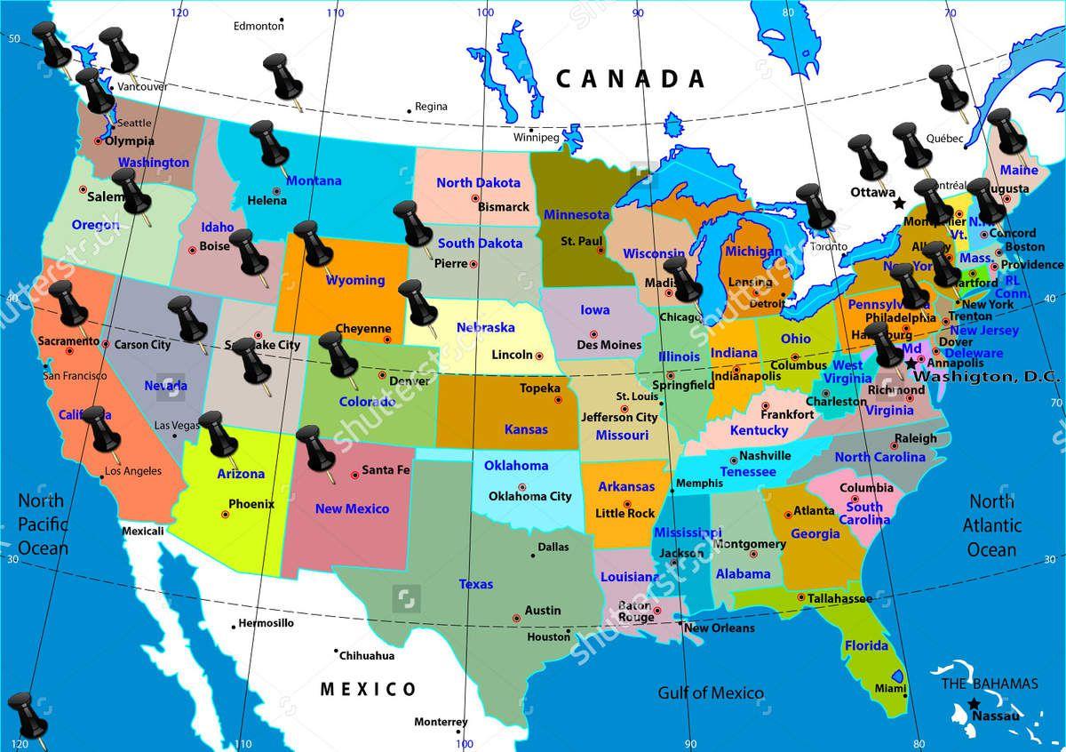 Carte Usa Canada Mexique.La Liste De Nos Voyages En Images Carnets De Voyages Aux