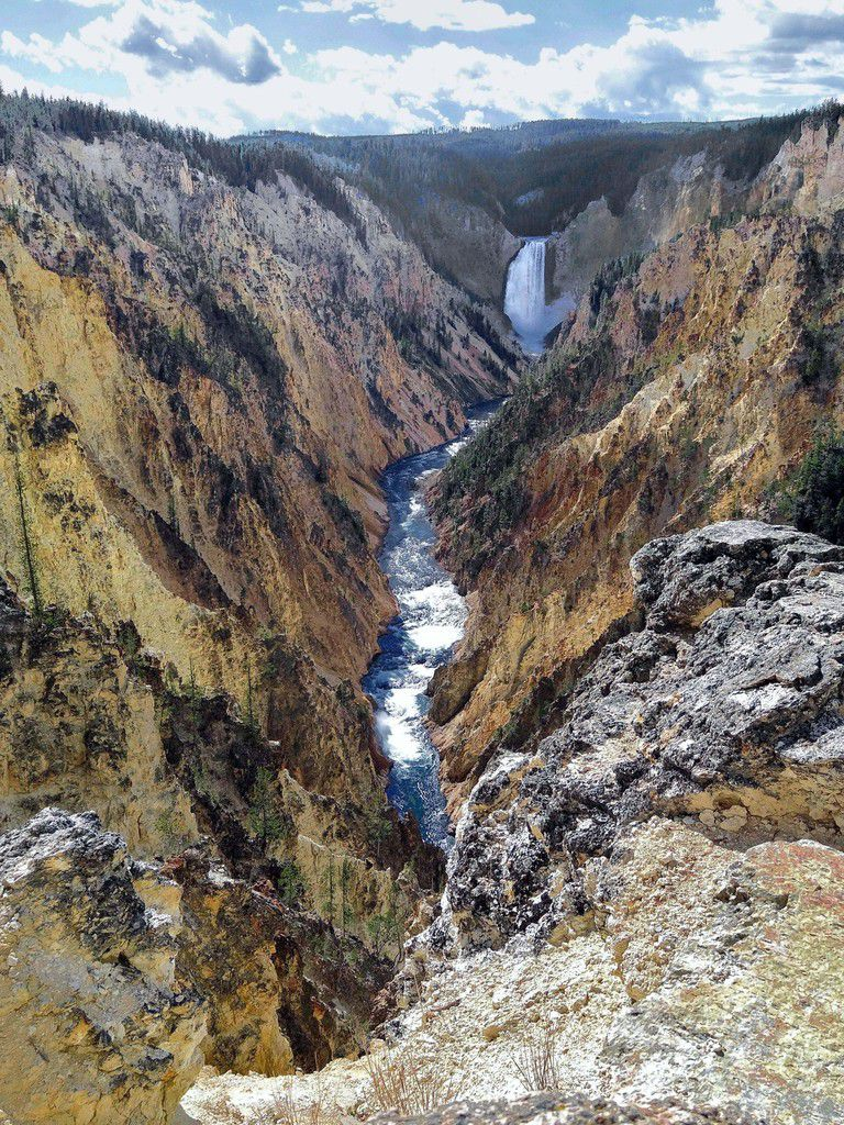 Yellowstone Canyon Lower Falls vues de Point Sublime Trail