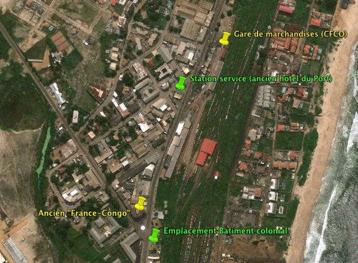 Localisation du bâtiment colonial (vue satellite © Google Earth 2010)