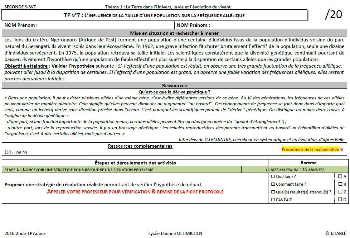2de-TP7 : L'influence de la taille d'une population sur la fréquence allélique