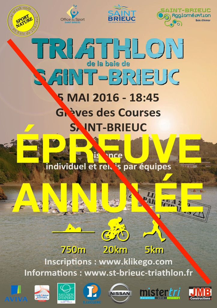 ANNULATION DU TRIATHLON DU 5 MAI.