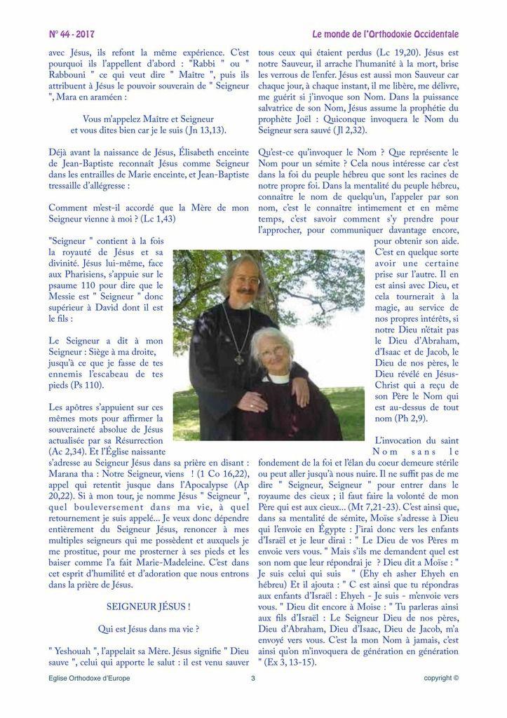 Journal &quot&#x3B;L'Orthodoxe Occidental&quot&#x3B; N°44