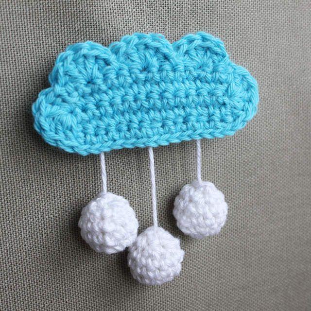 Broche nuage au crochet - Le tuto