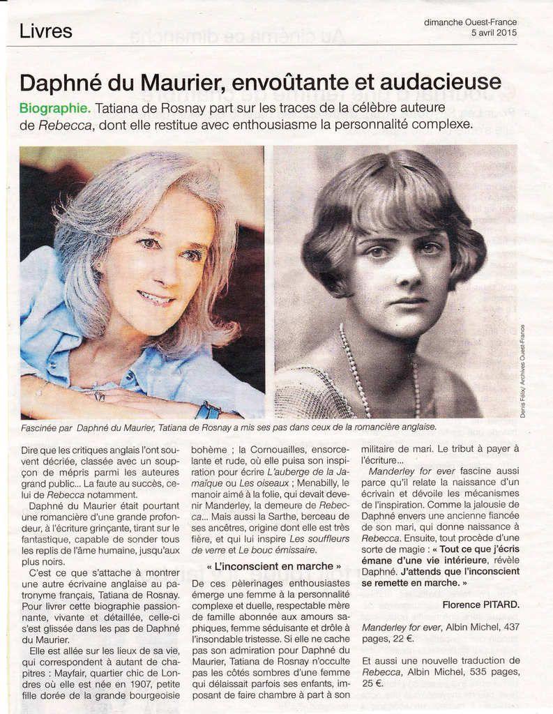 Tatiana de Rosnay et Daphné du Maurier
