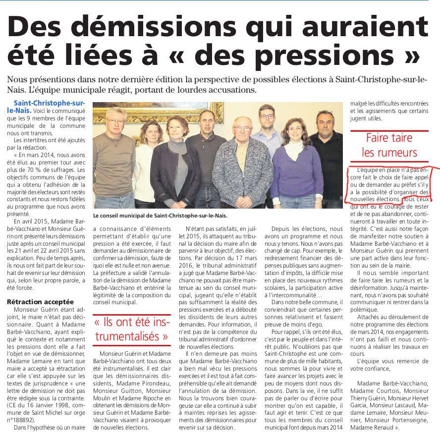 Article du Petit courrier en date du 15-04-16