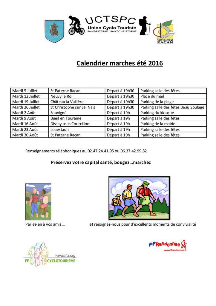 Le calendrier des marches de l'été