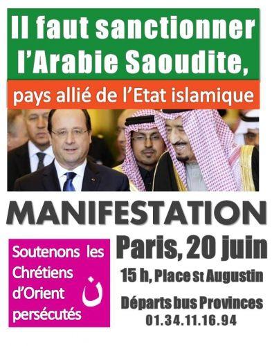 Francia: 20 de junio, manifestación en París en apoya a los cristianos de Oriente y por la sanción de Arabia Saudita