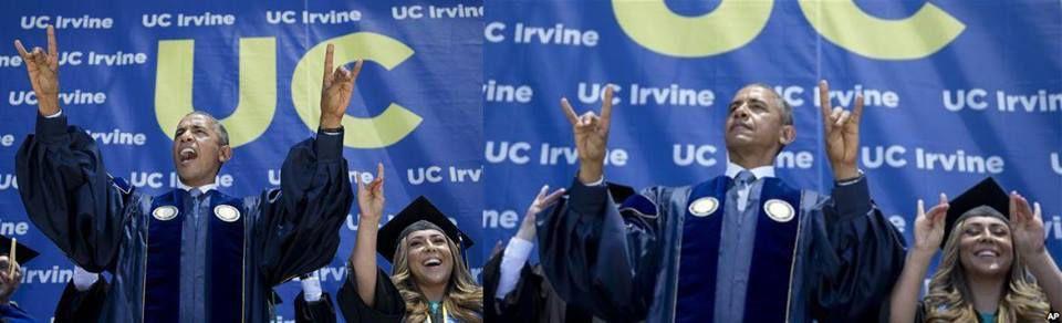 Barack Obama en la Universidad de Irving dando un discurso a estudiantes graduados