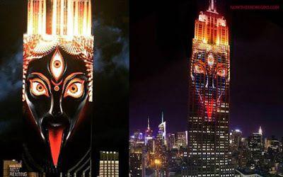La diosa Kali, que simboliza destrucción y muerte, ha sido proyectada sobre el edificio Empire State Building (Vídeo)